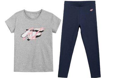 Zestaw sportowy dziewczęcy 4F t-shirt legginsy