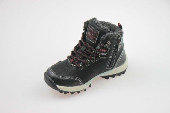 Buty zimowe chłopięce trapery czarne 32