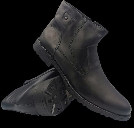 Buty zimowe męskie K8 skórzane ocieplane czarne 45
