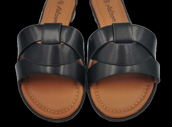 Klapki damskie czarne eleganckie LS-89092 BLACK