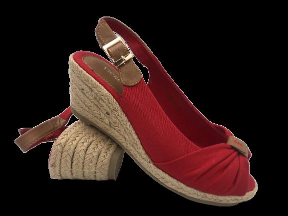 Sandały czerwone na koturnie wygodne 1476-19
