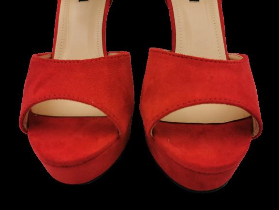 Sandały damskie na obcasie 1211-19 czerwone 39