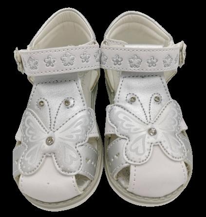 Sandały dziewczęce zakryte palce srebrne CL-MOT