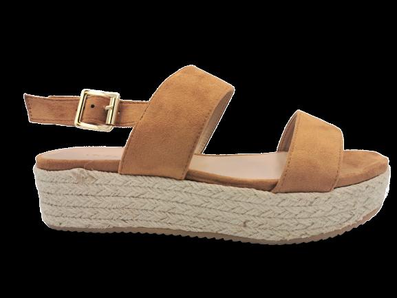 Sandały słomiane na platformie brązowe 8132-17