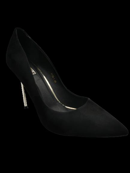Szpilki damskie zdobione zamszowe 5138-1 czarne