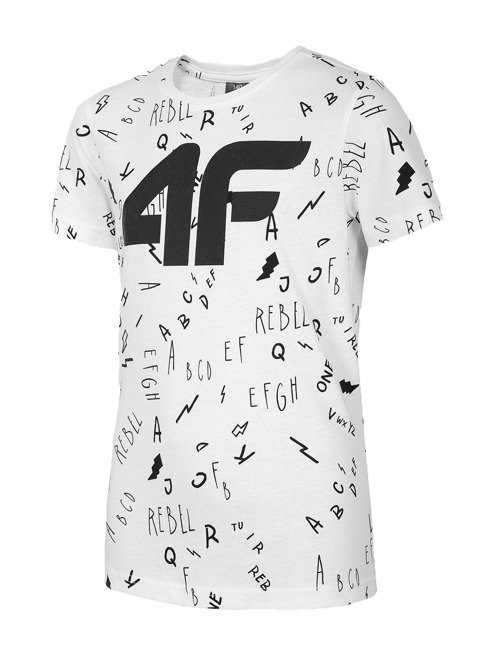 T-shirt chłopięcy 4F JTS002 BIAŁY
