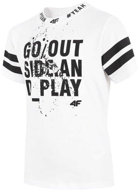 T-shirt chłopięcy 4F JTSM012 BIAŁY