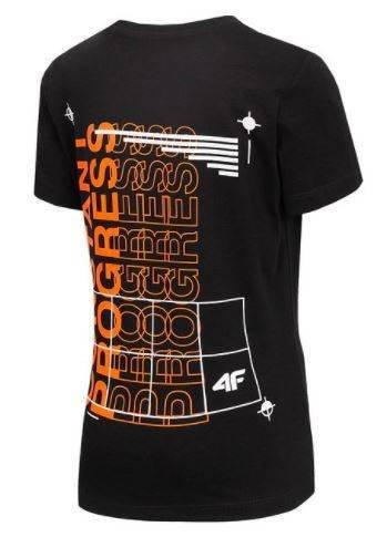 T-shirt chłopięcy 4F czarny JTSM007 bawełniany