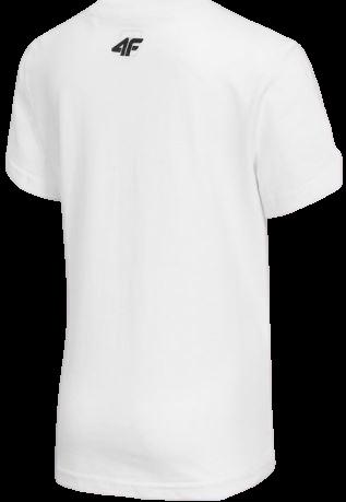 T-shirt chłopięcy biały 4F JTSM005A bawełniany