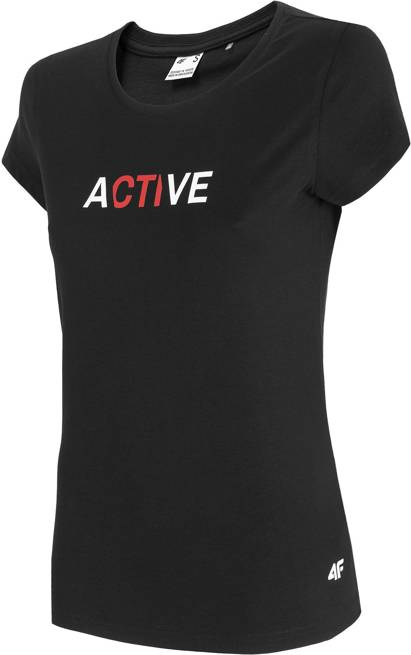 T-shirt damski 4F TSD019 bawełniany czarny