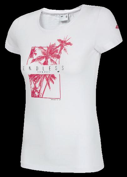 T-shirt damski 4F TSD025 BIAŁY