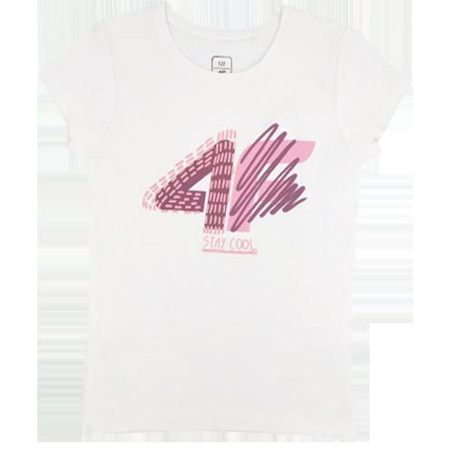 T-shirt dziecięcy 4F JTSD003 bawełniany biały