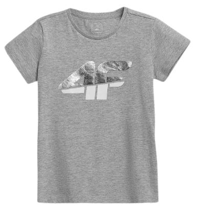 T-shirt dziecięcy 4F JTSD006B bawełniany szary