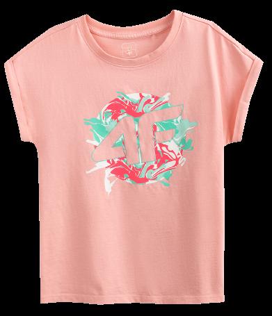 T-shirt dziewczęcy 4F JTSD012A róż bawełna