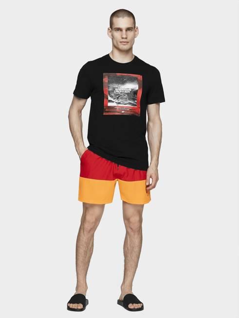 T-shirt męski 4F TSM028 czarny bawełniany
