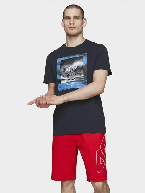 T-shirt męski 4F TSM028 granat bawełniany