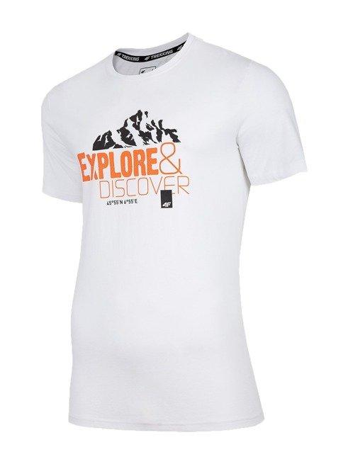 T-shirt męski bawełniany 4F TSM062 BIAŁY