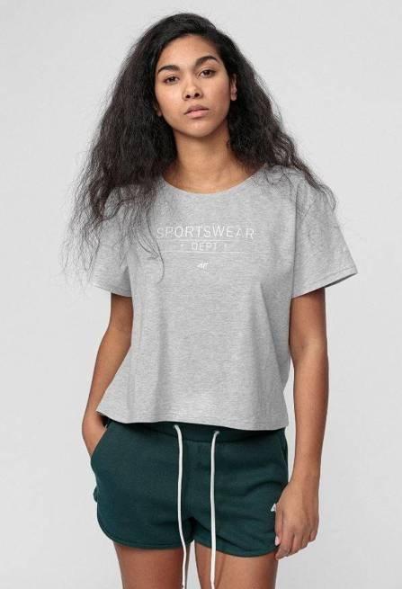 t-shirt damski 4F koszulka bawełna TSD013 SZARY